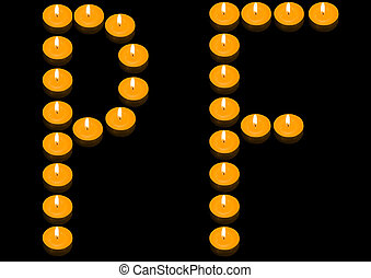 """Fiery PF - a group of burning candles forming \\\""""PF\\\"""" on..."""