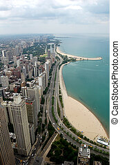 Chicago - A view of Chicago looking north from the top of a...