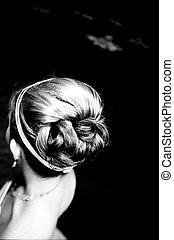 Bride\\\'s hair - Detail shot of a bride\\\'s hair