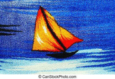Sailing-vessel. - Little boat with a sail. Fragment of...