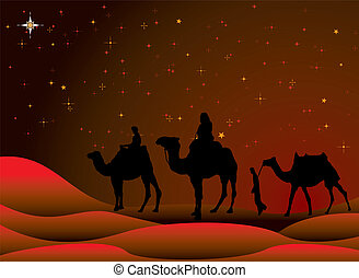 christmas journey - traditional christmas scene with camels...
