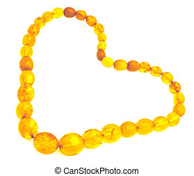 Amber heart. - A necklace from amber in the form of a symbol...