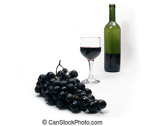 Wine composition - Wineglass and bunch of grapes on white...