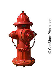 Fire Hydrant - Vintage Red Fire Hydrant isolated over white