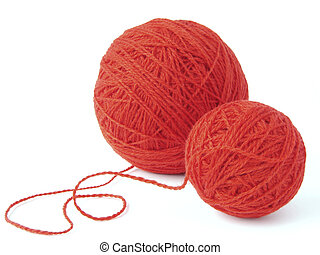 wool clews - red wool yarn clews...
