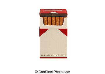 isolado, pacote, cigarros, branca, fundo