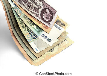 Products from ATM. - Old Russians are paper monies, falling...
