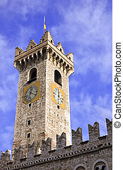 Old clock tower - Medieval tower with clock of a caste in...
