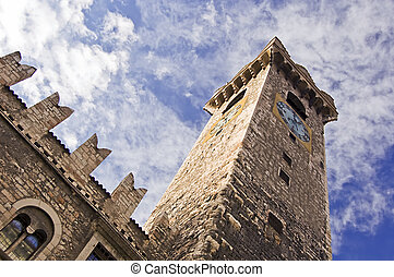 Medieval clock tower - Medieval tower with clock of a caste...