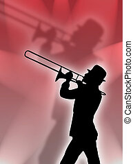 Trumpet in the lights - Trumpet player silhouette in the red...