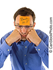 Businessman timeout - Businessman propping his head, taking...