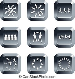 teamwork buttons - collection of teamwork icons set on...