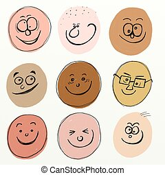 cartoon faces - collection of painterly sketchy scruffy...