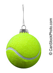 Tennis ball ornament - tennis ball ornament isolated over a...
