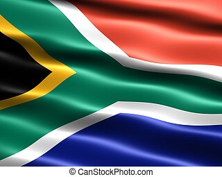 Flag of South Africa - Computer generated illustration of...