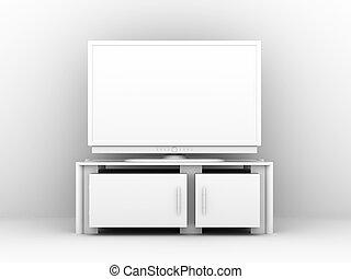 White Plasma TV - 3D rendered Illustration. Sterile white