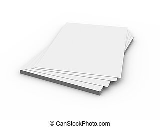 Paper Sheets - 3D Illustration Isolated on white