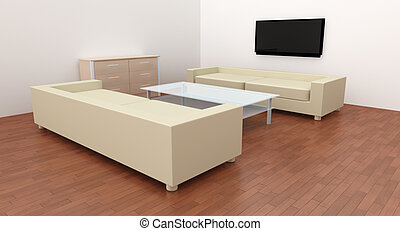Livingroom Interior - 3D rendered Livingroom Interior.