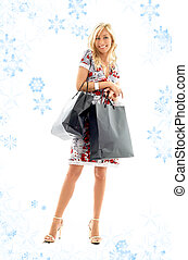 shopping lady with snowflakes 2 - lovely blond with shopping...