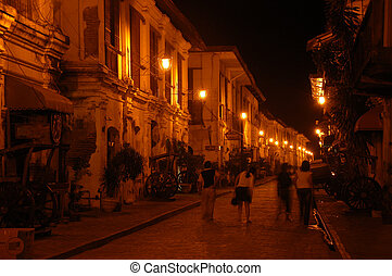 Spanish street at night - Spanish architecture in Northern...