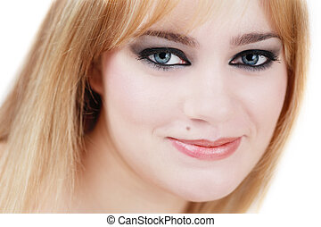 Smile - Tender portrait of beautiful blond girl with smoky...