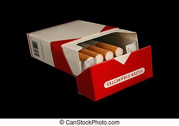 pack of cigarettes - Isolated pack of cigarettes on a black...