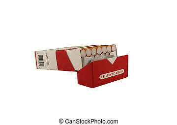 Isolated Pack of Cigarettes on a white background - A...