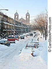 Snowy urban street - Urban street after the snowstorm Winter...