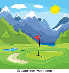 Golfing in the mountains - An vector illustration of a golf...