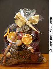 Festive Pot Pouri - festive bag of scented and spiced pot...