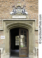 University of Cambridge, St Mary Magdalene college doorway to ha