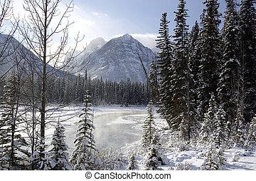Athabasca River - Winter shot of Athabasca River in Jasper...
