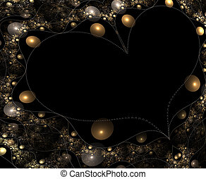 bling - black heart surrounded by silver and gold bobbles