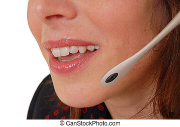 hotline operator - Beautiful hotline operator with telephone...