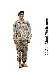 americano, exército, soldado