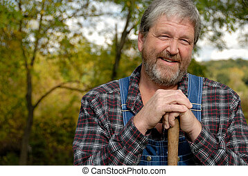 farmer portrait - portrait of grey haired bearded farmer,...