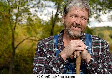 farmer portrait - portrait of grey haired bearded farmer,...