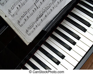 Piano - Music notes placed on the piano piano lesson