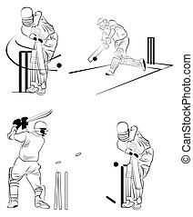 Crikcet - different illustration for the cricket actions