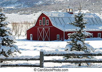 Country barn in the snow - Red barn in the country with...
