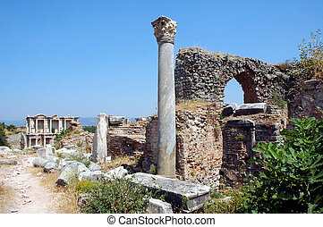 Roman ruins at Ephesus in Turkey - Roman street in Pompeii...
