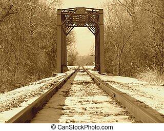 Bridzs, után, hóesés, sín, kiképez, átkelés, friss,  1900