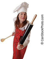Angry Chef - angry young female chef waving rolling pin,...