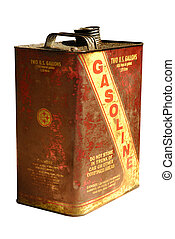Rusting vintage gasoline can, isolated on white - Vintage...