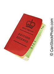 old UK driving licence - vintage old-style British licence...