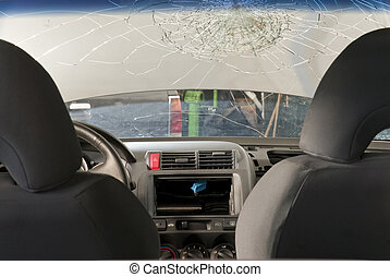 Shattered Windshield from inside the car. - Detail shot of a...