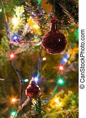Chrstmas Balls - Two Christmas balls amongst xmas lights...