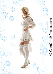 blond with shopping bag and snowflakes