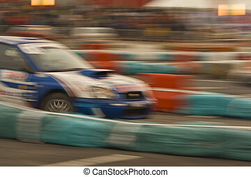 Abstract rally - Motion blur image of a fast rally car...