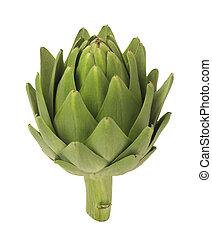 Artichoke - A photo of a single artichoke isolated on a...